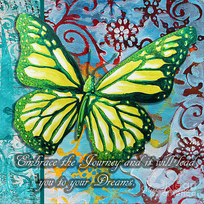 Beautiful Inspirational Butterfly Flowers Decorative Art Design With Words Embrace The Journey Poster