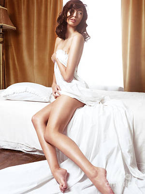 Beautiful Nude Asian Woman Covering With Bed Sheets Poster