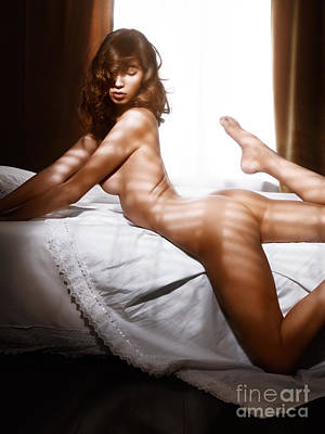 Beautiful Nude Woman Posing On A Bed By The Window Poster
