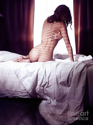 Beautiful Nude Woman Sitting Naked On Bed Back View Poster