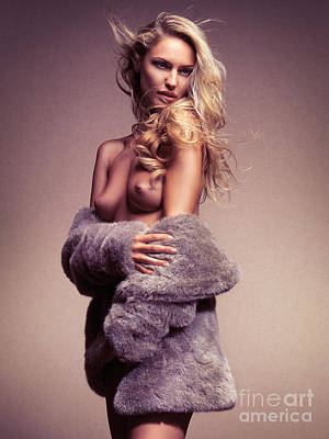 Beautiful Sexy Half Nude Woman In Fur Jacket Poster