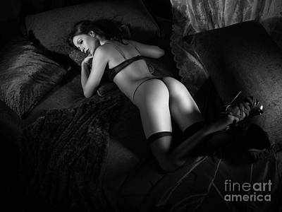 Beautiful Sexy Woman Lying On Bed Black And White Poster