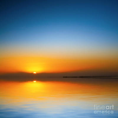 Beautiful Sunset Over Water Poster