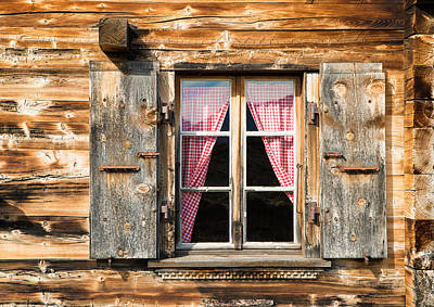 Beautiful Window Wooden Facade Of A Chalet In Switzerland Poster