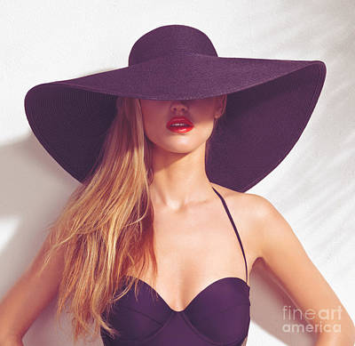 Beautiful Woman In Sunhat And Swimsuit Poster