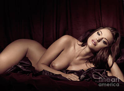 Beautiful Young Woman Lying Naked In Bed Poster