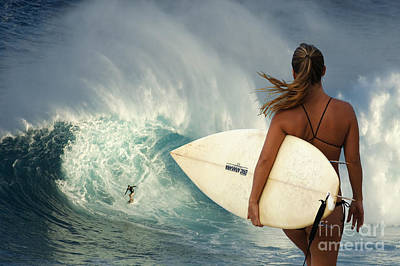 Surfer Girl Meets Jaws Poster