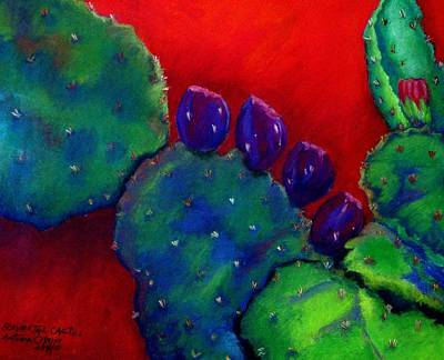 Poster featuring the pastel Beavertail Cactus  Pastel by Antonia Citrino