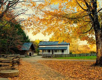 Becky Cable House In Autumn Poster by Linda Mcfarland