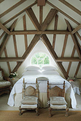 Bedroom With Wooden Ceiling Poster by Tim Beddow
