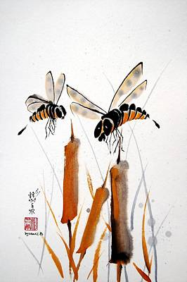 Poster featuring the painting Bee-ing Present by Bill Searle