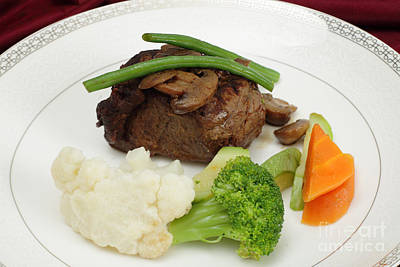 Beef Tournedos Plate Poster by Paul Cowan