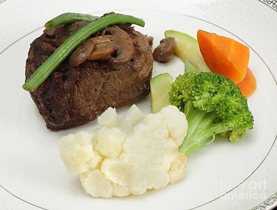 Beef Tournedos With Veg Poster by Paul Cowan