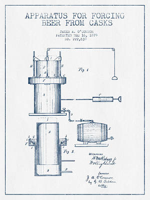 Beer Apparatus Patent From 1879 -  Blue Ink Poster by Aged Pixel