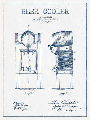Beer Cooler Patent From 1876 -  Blue Ink Poster