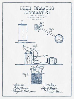 Beer Drawing Apparatus Patent From 1885 -  Blue Ink Poster by Aged Pixel