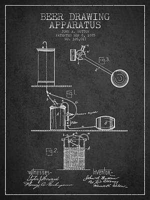 Beer Drawing Apparatus Patent From 1885 - Dark Poster by Aged Pixel