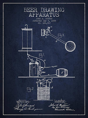 Beer Drawing Apparatus Patent From 1885 - Navy Blue Poster by Aged Pixel