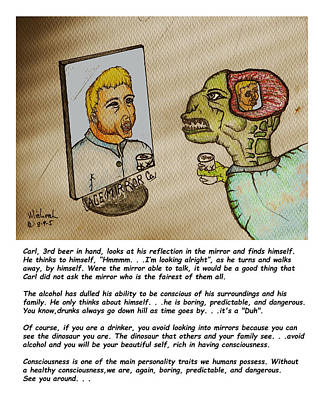 Beer Drinker In The Mirror Poster by Michael Shone SR