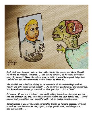Beer Drinker In The Mirror Poster