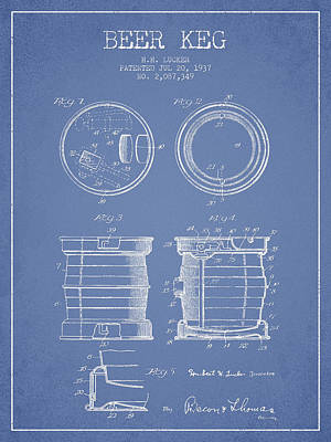 Beer Keg Patent Drawing From 1937 - Light Blue Poster by Aged Pixel