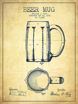 Beer Mug Patent Drawing From 1876 - Vintage Poster by Aged Pixel
