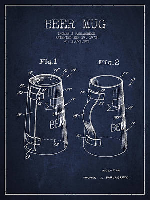 Beer Mug Patent From 1972 - Navy Blue Poster by Aged Pixel
