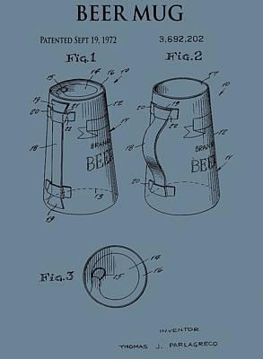 Beer Mug Patent On Blue Poster