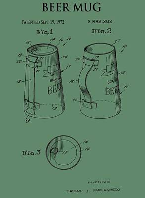 Beer Mug Patent On Green Poster by Dan Sproul
