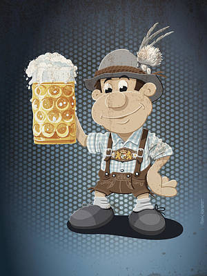 Beer Stein Lederhosen Oktoberfest Cartoon Man Grunge Color Poster by Frank Ramspott