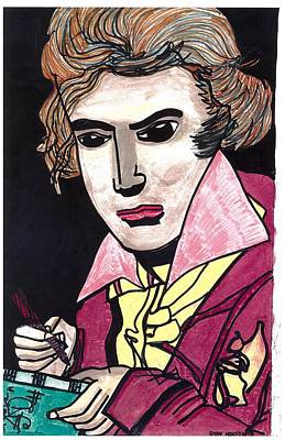 Poster featuring the drawing Beethoven by Don Koester
