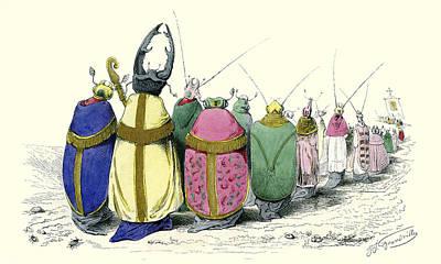 Beetles By J.j. Grandville Poster by Robert Jensen