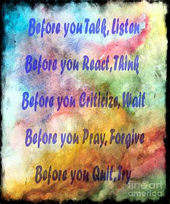 Before You Quit 3 Poster by Barbara Griffin