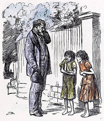 Begging Children 1873 Incomplete Education Shivering Man Poster by English School