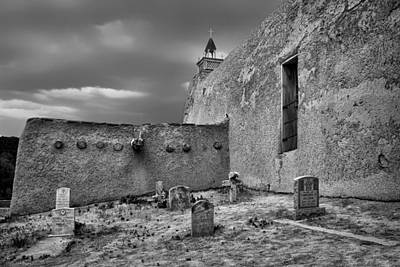 Behind The Church - San Jose De Gracia Church - New Mexico - Black And White Poster by Nikolyn McDonald