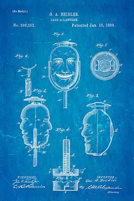 Beidler Jack-a-lantern Patent Art 1889 Blueprint Poster by Ian Monk