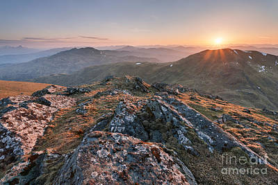 Sunset From Beinn Ghlas - Scotland Poster by Rod McLean