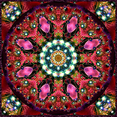 Poster featuring the digital art Bejewelled Mandala No 1 by Charmaine Zoe