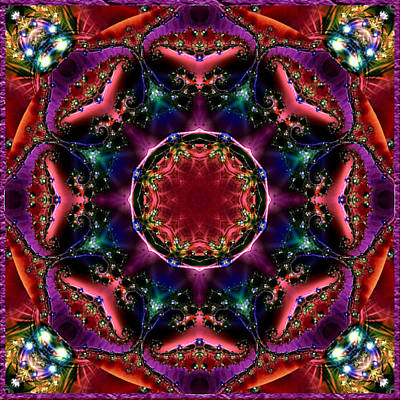 Poster featuring the digital art Bejewelled Mandala No 3 by Charmaine Zoe