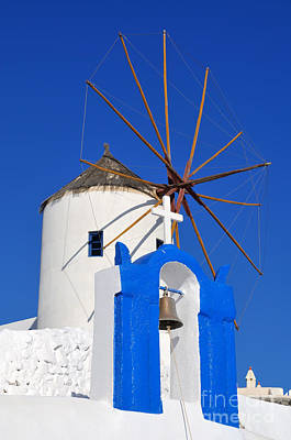 Belfry And Windmill In Oia Town Poster by George Atsametakis