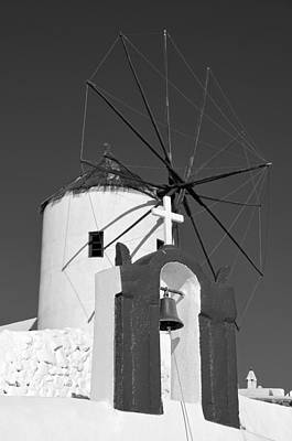 Belfry And Windmill In Oia Poster by George Atsametakis