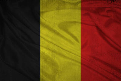 Belgian Flag Waving On Aged Canvas. Poster by Eti Reid