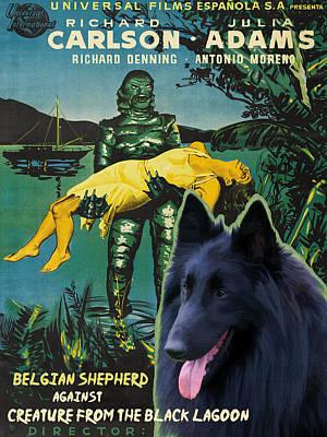 Belgian Shepherd Art Canvas Print - Creature From The Black Lagoon Movie Poster Poster
