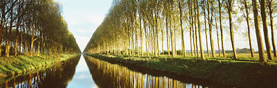 Belgium, Tree Lined Waterway Poster by Panoramic Images