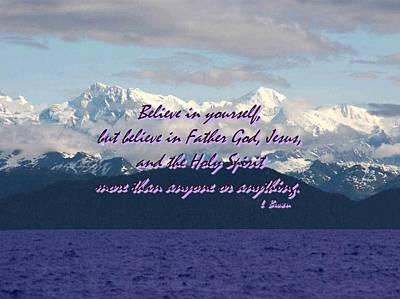 Believe In Yourself God Jesus And Holy Spirit Poster by L Brown