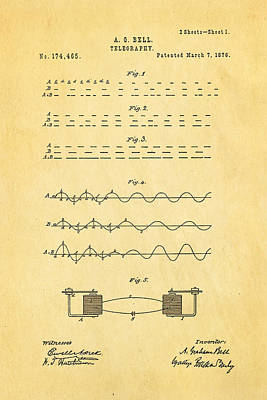 Bell Telephone Patent Art 1876 Poster by Ian Monk