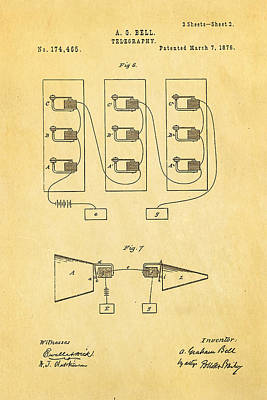 Bell Telephone Patent Art 2 1876 Poster by Ian Monk