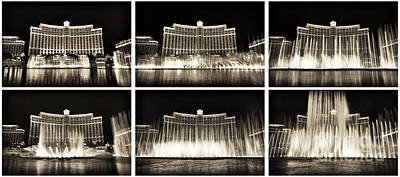 Bellagio Fountain Dance Collage Poster by John Rizzuto