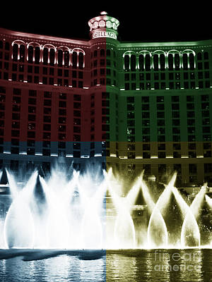 Bellagio Fountain Fusion Poster by John Rizzuto