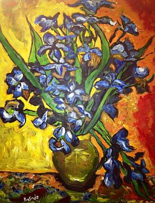 Poster featuring the painting Belle's Pot Of Fiery Irises by Belinda Low